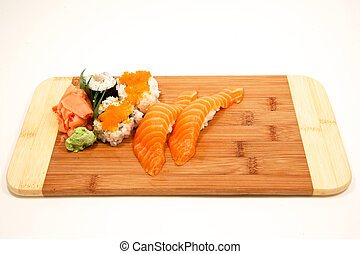 Sushi on bamboo board