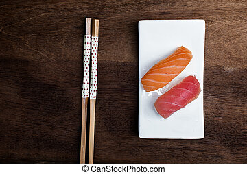 Sushi on wooden background