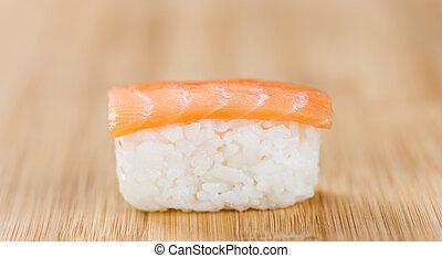 sushi, op, een, wooden table, (selective, focus)