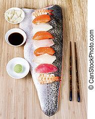 sushi, på, stort, lax, hårband, tjänande, som, tallrik