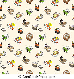sushi, padrão, seamless