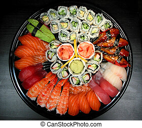 sushi, partido, bandeja