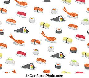 sushi Pattern - background illustration of various types of ...