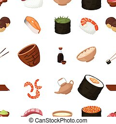 Sushi pattern icons in cartoon style. Big collection of sushi vector illustration symbol.