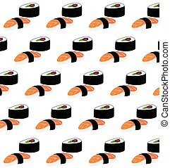 Sushi pattern on white background