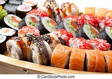 sushi, pełny, zmieszać, płyta