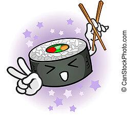sushi, personagem, caricatura, chopsticks
