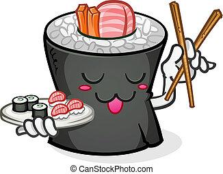 sushi, personagem, caricatura