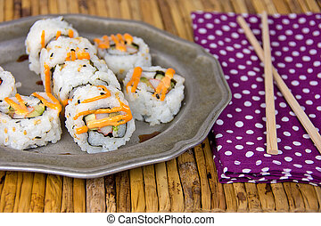 sushi pinwheels on plate