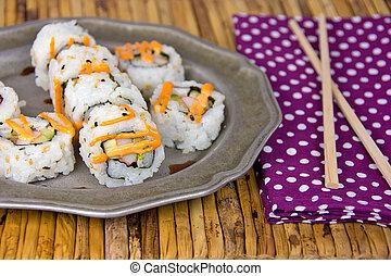 sushi pinwheels on plate