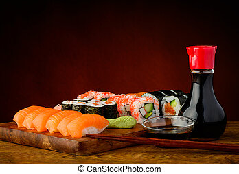 Sushi plate - still life with mixed sushi plate and soy...