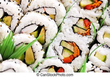Sushi platter - Close up on tray of assorted sushi...