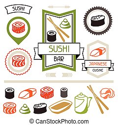 sushi., różny, komplet, etykiety, symbole