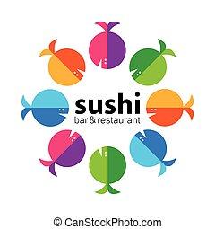 sushi, restaurang, hinder