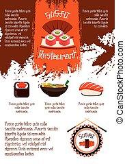 Sushi restaurant vector poster template - Japanese sushi...
