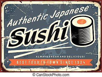 Sushi retro tin sign template for traditional Japanese...