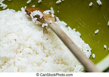 Sushi Rice In A Wooden Bowl On White Background White Short Grain