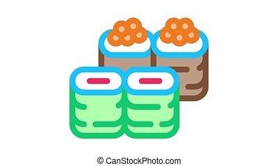 sushi roll assortment Icon Animation. color sushi roll assortment animated icon on white background
