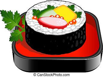 Sushi Roll over white. EPS 10, AI, JPEG