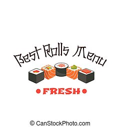 Sushi roll icon of japanese cuisine restaurant - S u s h i r...