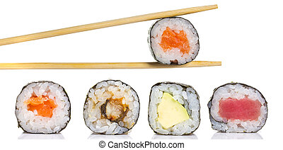 Sushi roll in chopsticks isolated
