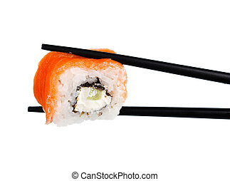 sushi roll in chopsticks Isolated on white
