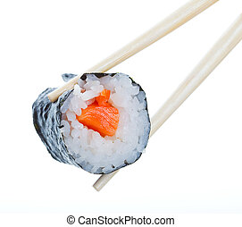 Sushi roll in chopsticks on a white background