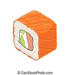 Sushi roll. Isolated on white background. Vector flat color