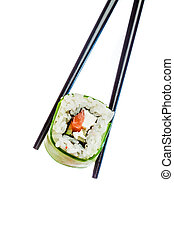 Sushi Roll on a white background - Tasty food. Sushi Roll on...