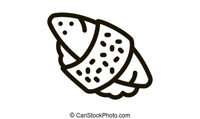 sushi roll rice fish meat Icon Animation. black sushi roll rice fish meat animated icon on white background