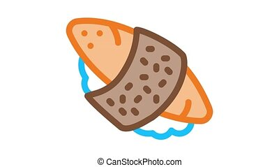 sushi roll rice fish meat Icon Animation. color sushi roll rice fish meat animated icon on white background
