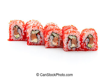 Sushi roll - serving sushi rolls with caviar on a white ...