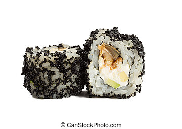 Sushi roll with black caviar isolated on white background