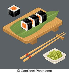 Sushi roll with fish, chopsticks, wasabi in bowl, wood...