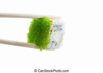 sushi roll with green caviar isolated on white background
