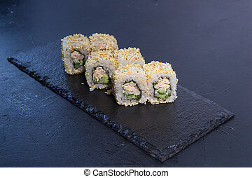 Sushi roll with. Japanese food. 5