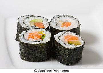 sushi- rolle, weiß, platte