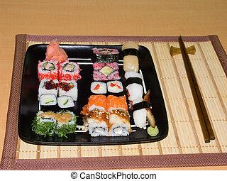 sushi, rollos, -, sashimi, japón, cocina