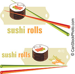 Sushi rolls and chopsticks. Icons for menu design. Vector...