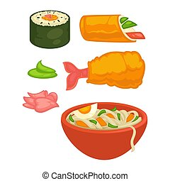 Sushi rolls and Japanese cuisine food snacks vector flat...