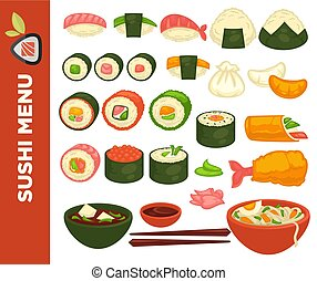 Sushi rolls and Japanese cuisine vector icons for restaurant...