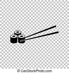 Sushi Rolls. Black icon on transparent background. Illustration.