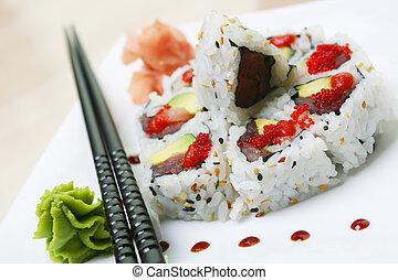 Sushi Rolls - Crab, fresh avocado and cucumber, rolled ...