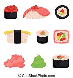 Sushi, rolls, icon set on white isolated background. Vector illustration