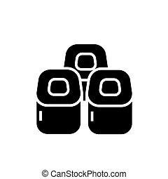 sushi rolls icon, vector illustration, black sign on isolated background