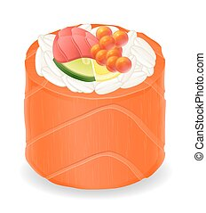 sushi rolls in red fish vector