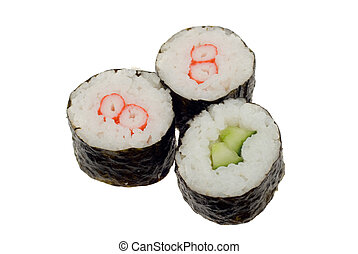 sushi rolls isolated on a white background