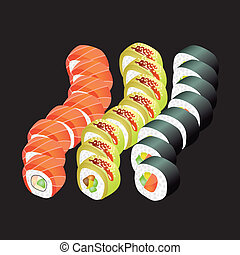 Sushi rolls on black background