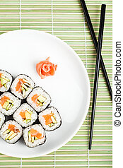 Sushi rolls on the plate. Top view