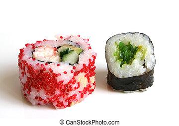 Sushi rolls on the white background